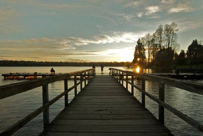 sunset at green lake