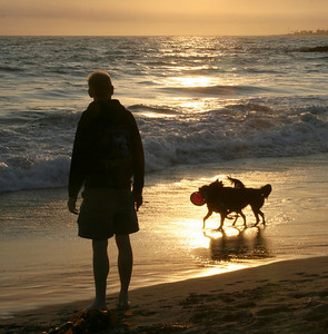Jon and dogs at Ventura Beach