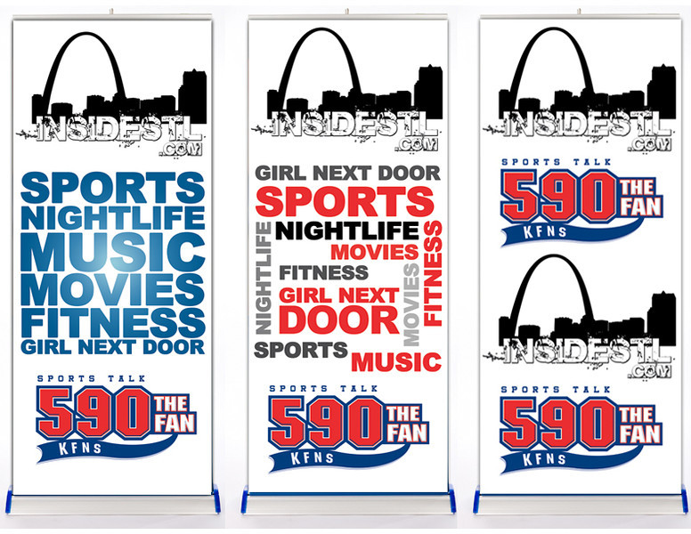 These were concepts for a banner stand that was used at live remotes that 590 and insideSTL would host at different client establishments.