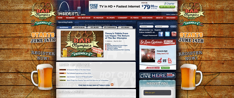 Starting from scratch with the logo, we were able to expand on the concept and move onto different forms of branding.  This is the Bar Olympics creative used for our front full page branding on insideSTL.com