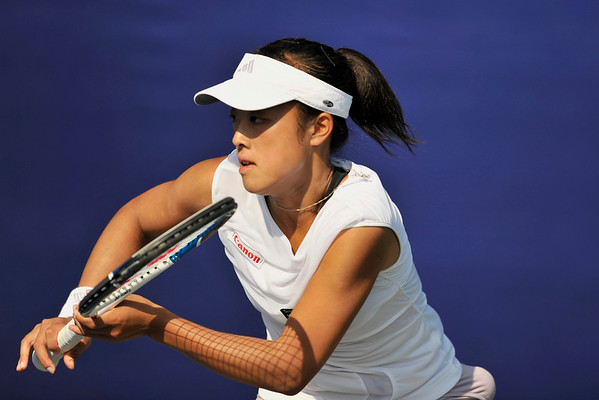 15 July 2008: Ayumi Morita and Ai Sugiyama (not pictured) of Japan  during their 4-6, 6-2 (10-8) victory over Gisela Dulko of Argentina and Shahar Peer of Israel in their  first round doubles match at the Bank of the West Classic in Stanford, CA.