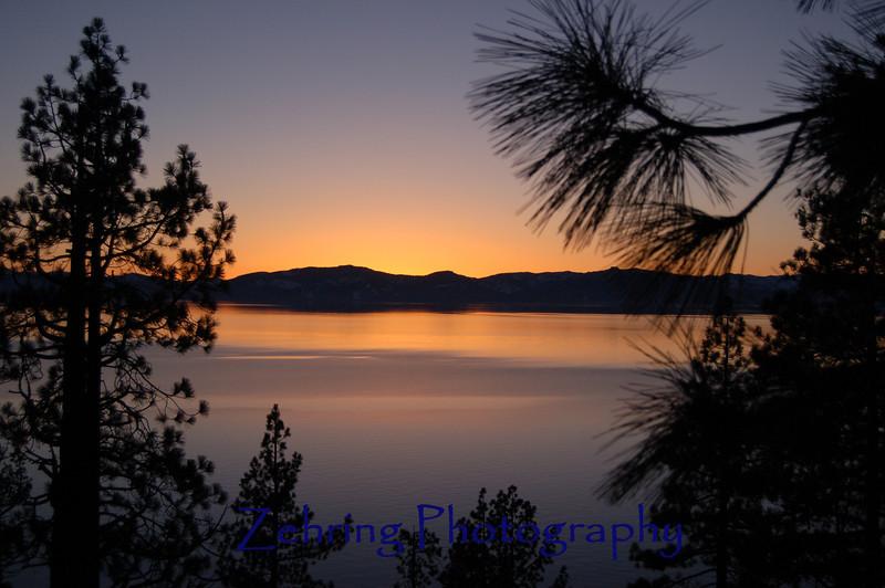 Sunset vista overlooking scene at Lake Tahoe, NV.