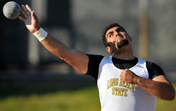 08 March 2008:  Rajan Bains of Long Beach State competing in the shot put during the Benny Brown Invitational Track and Field Meet at Mt. San Antonio College, in Walnut, CA.