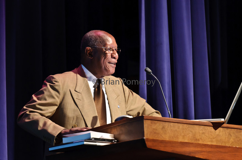 BRIAN POMEROY | Senior Photographer<br /> Howard Dodson, retired director of the Schomburg Center for Research in Black Culture, spoke to students Wednesday evening in Fowler Hall.  He spoke about the Great Migration, when 2 million African-Americans moved from the southern United States to the Midwest, Northeast and West between 1919 and 1930, and how this migration affected the nations political and cultural development.
