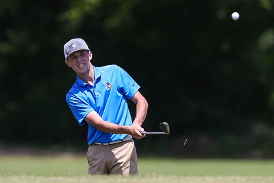 Booneville's Tate Dickerson plays a shot during the MissHSAA State Golf Tournament on May 7, 2019 at the Hillandale Golf Course in Corinth, MS.