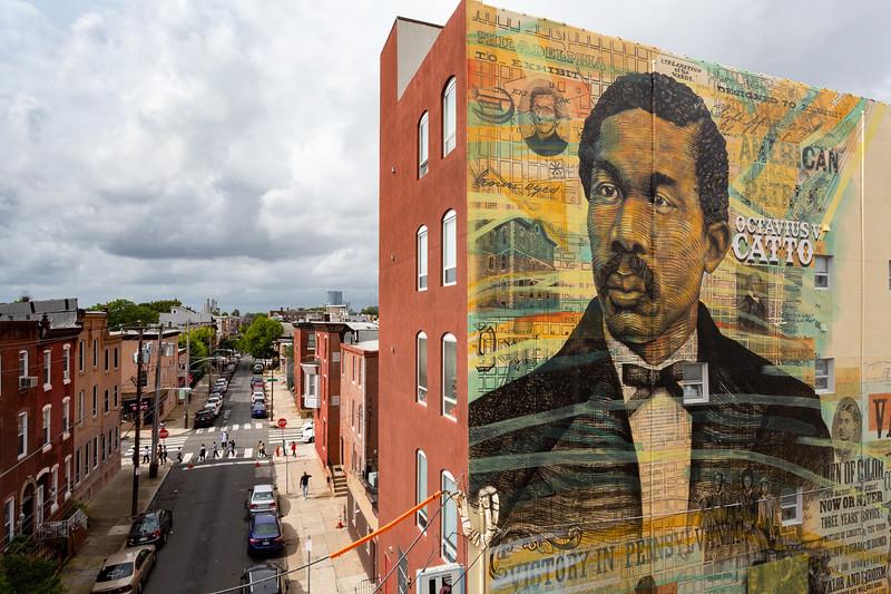 Remembering a Forgotten Hero  © 2018 City of Philadelphia Mural Arts Program / Willis Nomo Humphrey / Keir Johnston, Universal Charter School, 801 South 15th Street. Photo by Steve Weinik