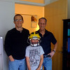 Max in the REAL Michigan helmet, Neal's office at OHSU