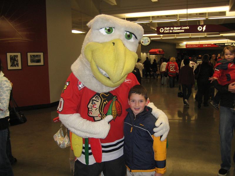 Max with Portland Winterhawks mascot