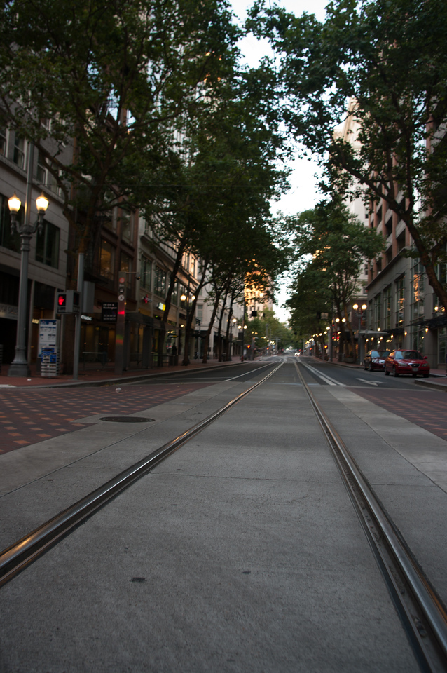 Downtown Portland.  Don't get caught driving in this rail lane, the locals will be quick to inform you of your mistake.