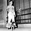 JUNE 1959- Bill Wiesemann of St. Louis, faced with the problem of doing picket line duty and exercising his dog, Winnie, solved the problem by making the pooch do her share for the stereotypers cause. St. Louis, in its third day without a newspaper, faces at least 3 more paperless days as talks with the Pulitzer Publishing co. were adjourned until Monday morning. UPI photo