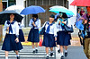 High school girls and umbrellas