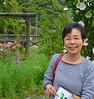 Hiroko-san, in her garden