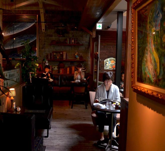 Interior of Japanese cafe, kissaten.