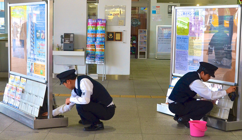 Station agents have many chores, especially in Japan