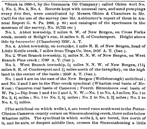 A Summary Description of the Geology of Pennsylvania:  Upper Silurian and Devonian formations Geological survey of Pennsylvania, 1892   Page 1471 <a>http://books.google.com/books?id=TEA4AAAAMAAJ&lpg=PA1472&ots=VSib2ih-zo&dq=loyalsock%2C%20pennsylvania%2C%20wells&pg=PA1471#v=onepage&q&f=false</a>