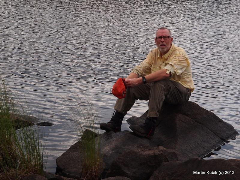 Brian taking lunch break on South Wilder Lake.
