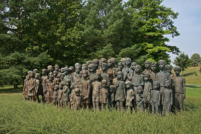 The haunting memorial to the children of Lidice looks out over the site of the former village.  Of the 105 children taken by the Nazi's, 82 were murdered by gassing, 6 died in infant homes and 17 survived to return home after WW2.