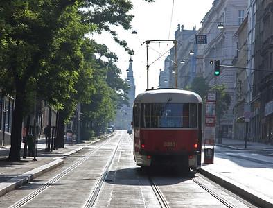 A Tatra-T3 tramcar operating on route 16 climbs eastward along Jecna towards IP Pavlova. 23rd August 2009.
