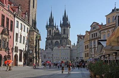 Old Town Square (Staroměstské náměstí) and the famous Tyn Church.  23rd August 2009.
