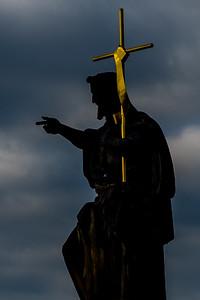 St. John the Baptist on Charles Bridge crossing the Vltava River in Prague