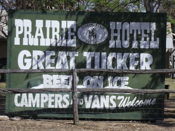 Our Welcome sign to the Prairie Hotel, Queensland