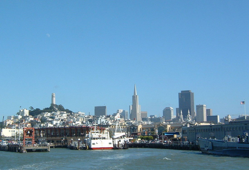 Day 1 - a7) View of SF on ferry in Bay