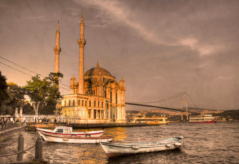 The Ortakoy Mosque and the Bosphorus Bridge, Europe (near side) and Asia - Istanbul, Turkey HDR.