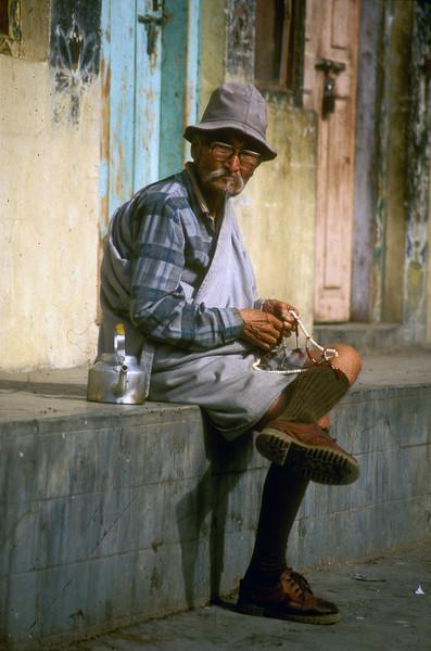 A man and his teapot, Thimpu, Bhutan.