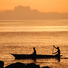 Dugout canoe at sunset, Lake Malawi.