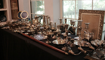 Sterling silver candlesticks, candle snuffer, frames, coasters, bowls, enamel bowls, Tiffany sterling meat platter and more!