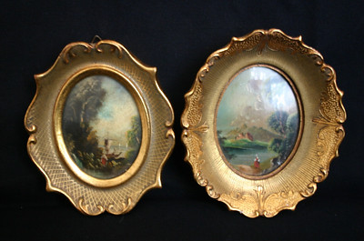 Hand painted scenes in oval frame