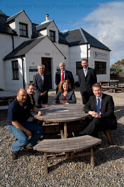 HIe members meet Mr  Steve Macfarlane owner of the Glenuig Inn.Pictured left to right-Mr Steve Macfarlane(owner)Mr David Oxley(Head of operations)Mr Willie Roe(Chairman)Mr Robert Muir(area manager) Mr Craig Spence(Board member)  Mary Bownes(seated centre) Mr Alex Paterson(Chief Executive)