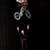 Graeme Obree(dubbed flying scotsman)the world record breaking speed cyclist is pictured at the opening of the scottish bike show and be leapt over by BSD BMX stunt team including legends Kriss Kyle and Chaz Mailey