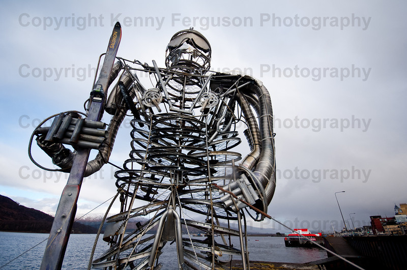 15/02/13 the newly erected sculpture at the side of loch Linnie  to mark the start of the up and coming mountain festival being held locally in and around Fort William.The sculpture is made up od old bikes and other outdoor equipment and was made by Mr Ewan Laurie of Ballachulish