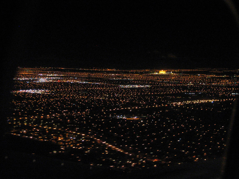 17 1 Arrival.<br /> Flying into Sin City at night is always a visual treat. My camera didn't want to wake up, so this pic came late on the approach.