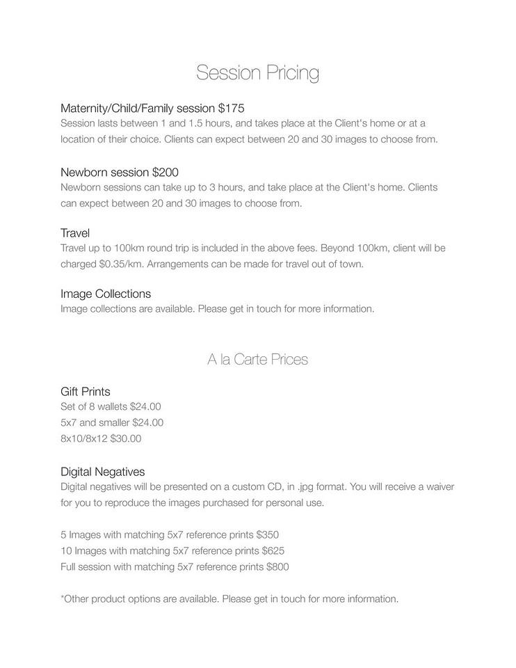 Basic Pricing info