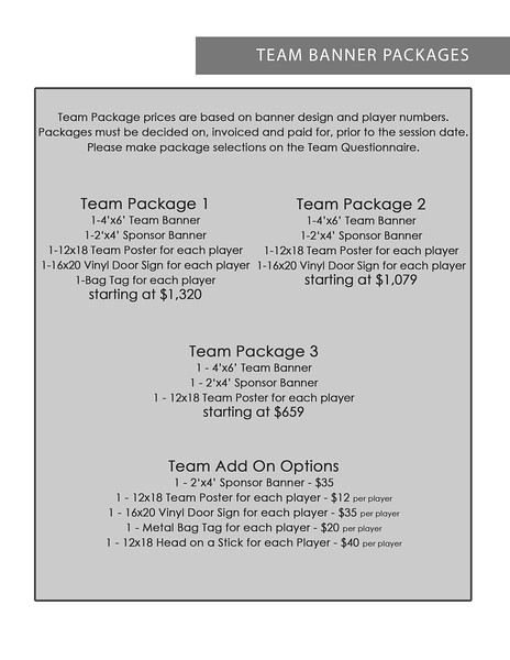Team Banner Packages