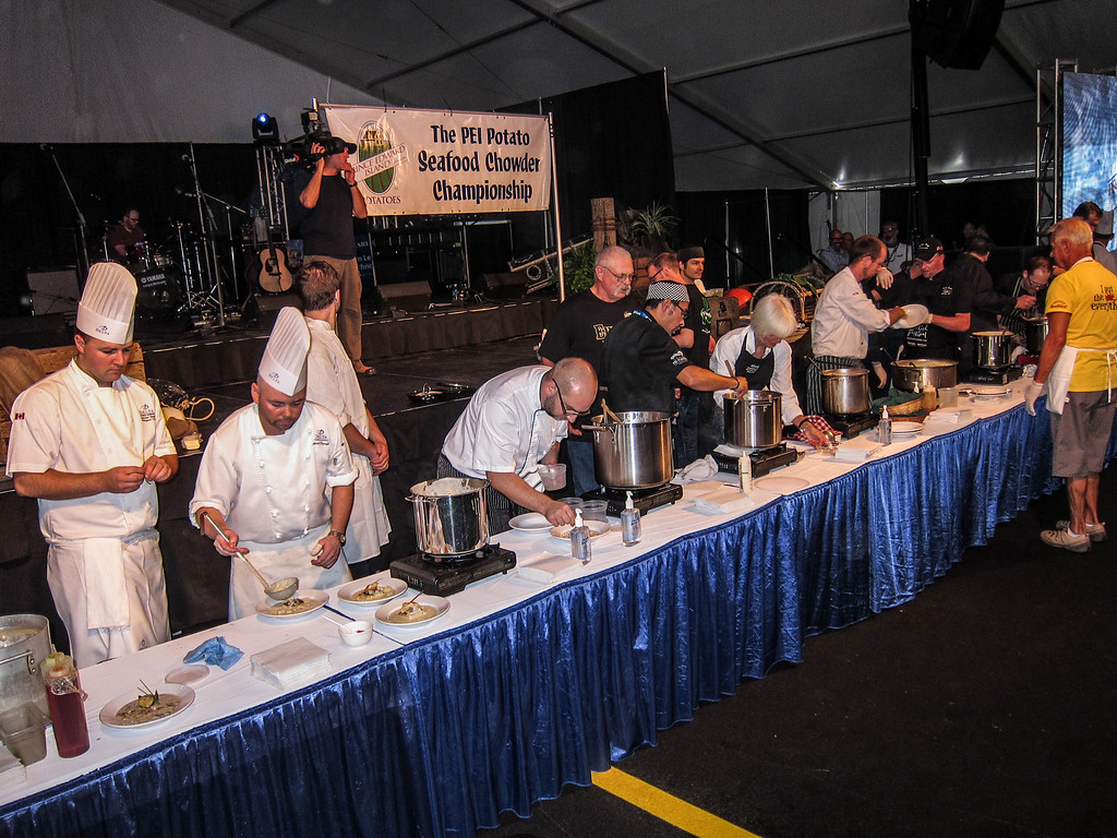 Best Chefs from all around PEI making some really delicious Chowder .
