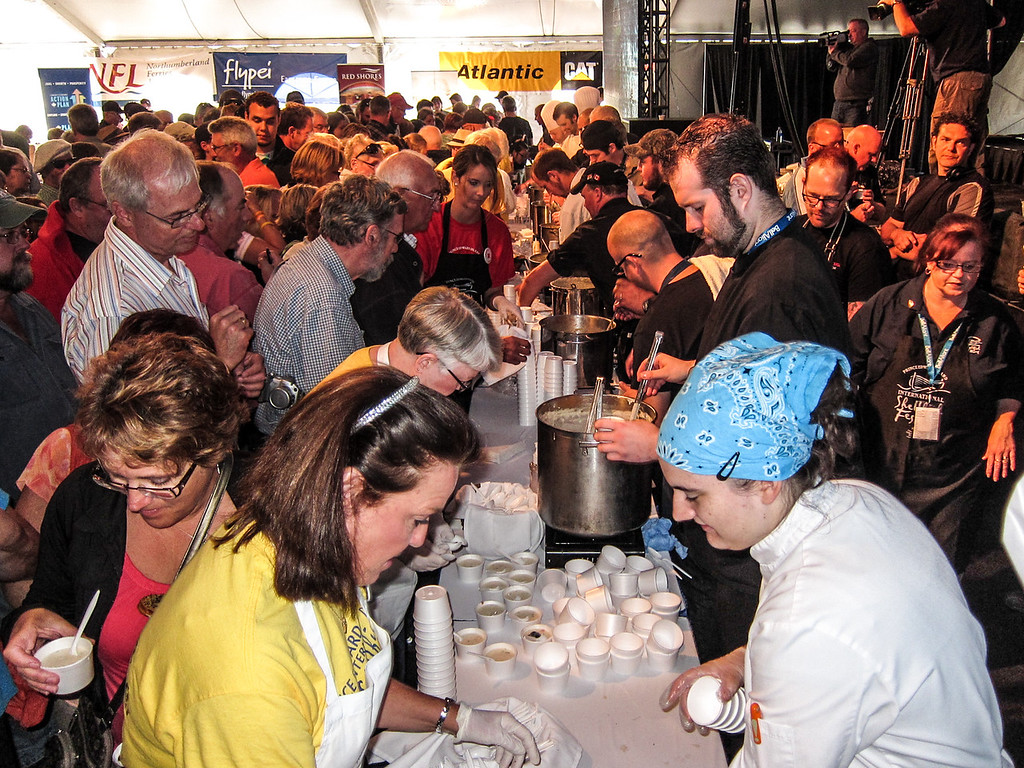 Unbelievable crowds rushing to taste the Chowder .