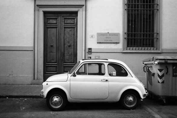 Florence, Italy: Little Car (35mm BW film)
