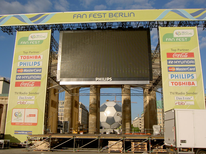 The big screen and football in front of the Brandenberg Gate.  Expect to see lots of this (and the crowd in front of it) in World Cup coverage!