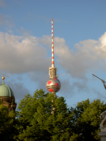 TV Tower, with obligatory football theme