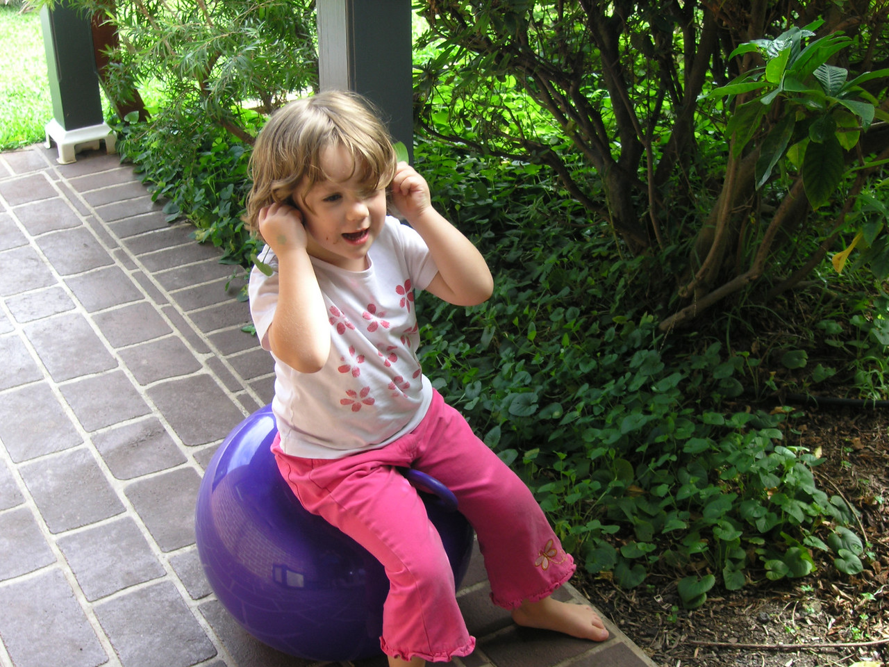 Abbie on the space hopper