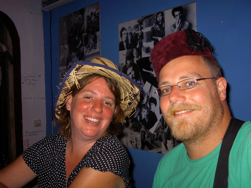 Hat night in the hostel bar