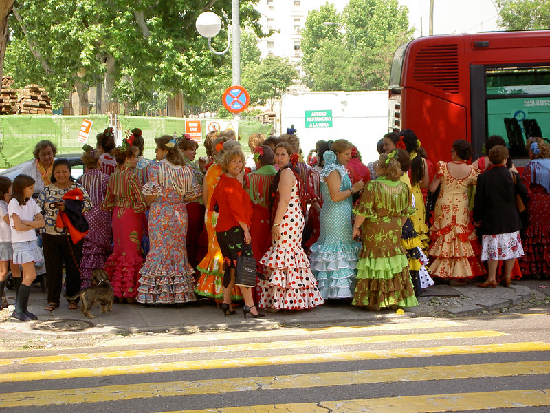 Ladies waiting for the festival bus