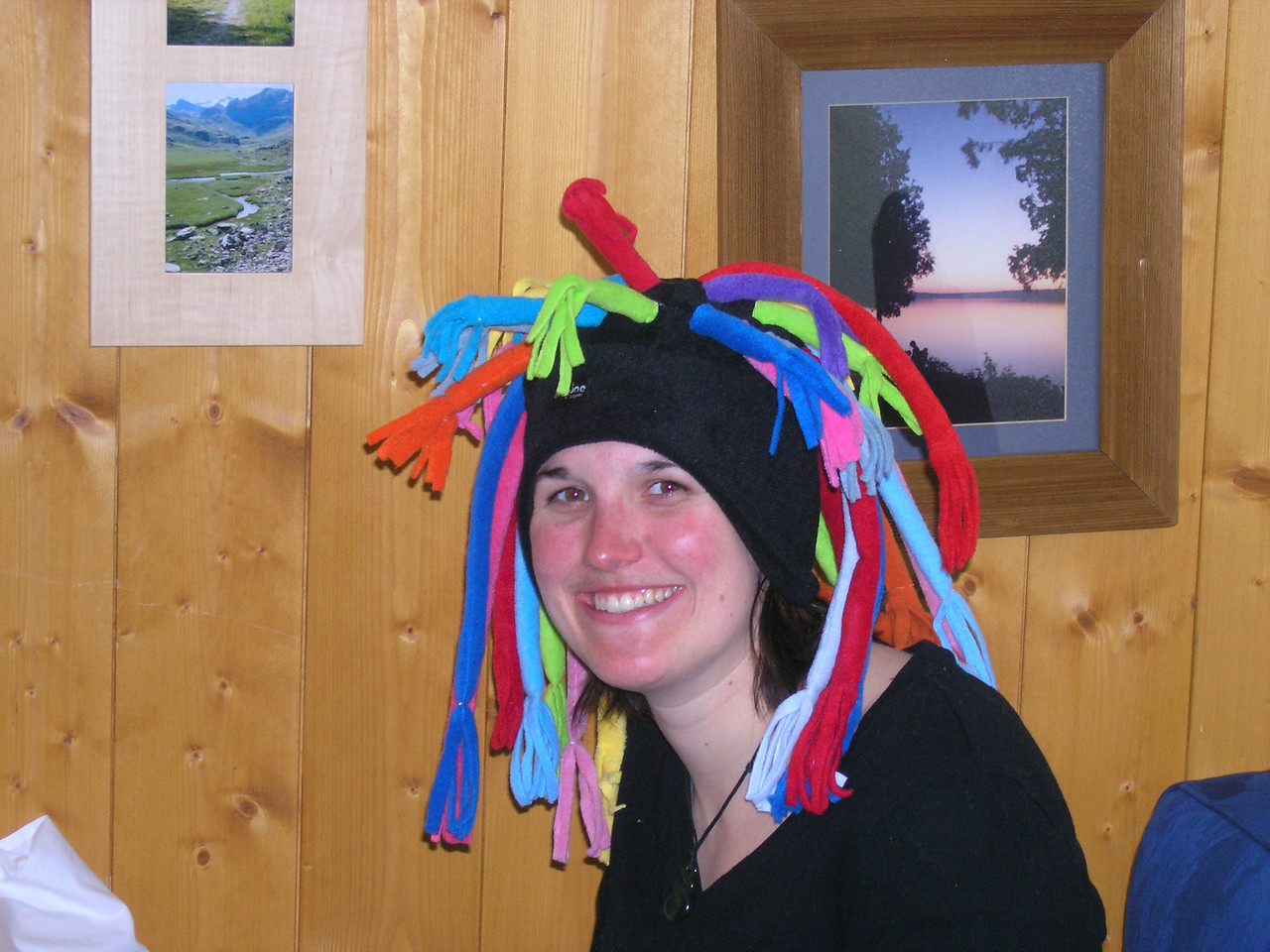 Hannah with her hard-earned silly hat