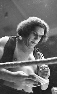 "The late Andre :The Giant"", billed as 7ft 4in and 444lbs!  circa 1975. I tried to get an interview, but was told Andre didn't speak English. (they told me that after they found out I wasn't from a 'major' newspaper.  The next week he appeared on the Johnny Carson Show and spoke English."