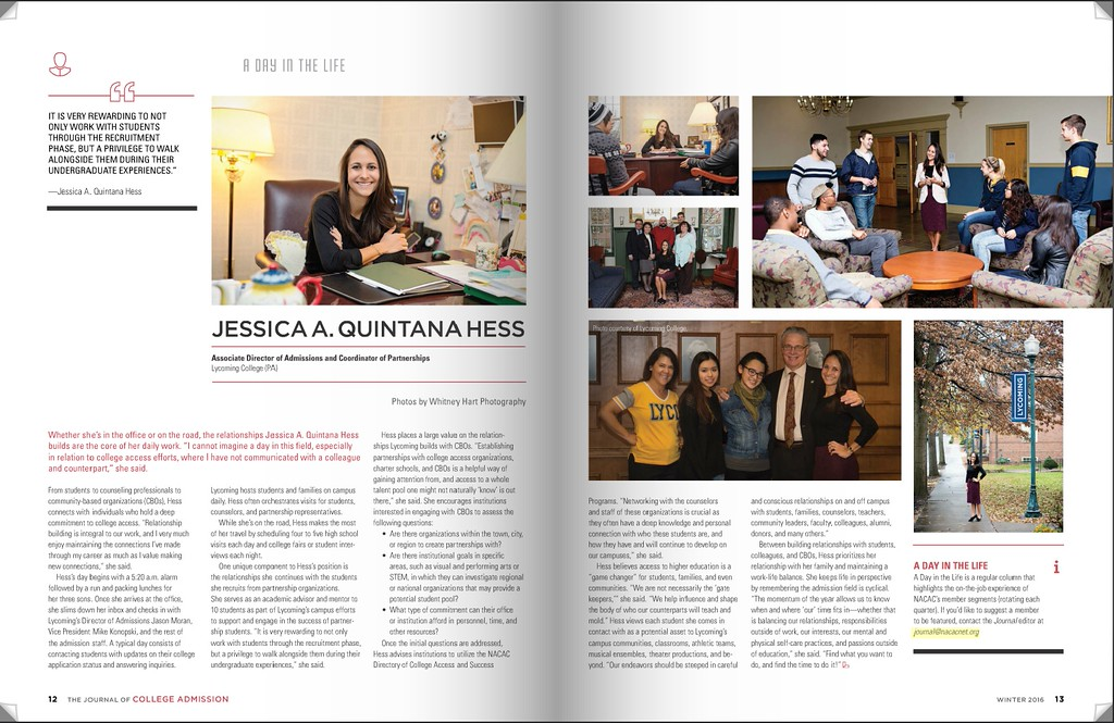 NACAC WINTER 2016 JOURNAL DAY IN THE LIFE JESSICA HESS
