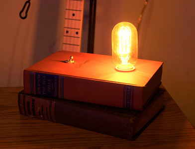 How about some ambiance? The carbon filament bulb is 40 watts, but it's about equivalent to a modern nightlight bulb.