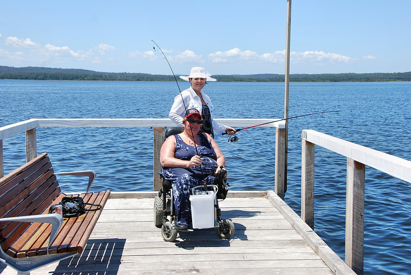 Sandra Wollburg from Melbourne enjoying the fishing at Bemm River....The Access for All Abilities Fishing platform